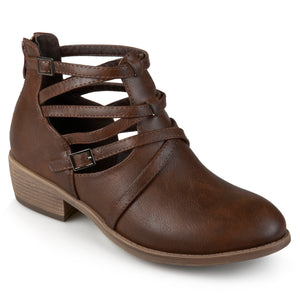 Womens Faux Leather Strappy Buckle Booties