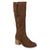 Womens Wide Calf Faux Suede Mid-calf Stacked Wood Heel Boots