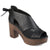 Womens Faux Leather Tie Back Open-toe Heeled Platform Clogs