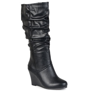 Womens Regular and Wide-Calf Knee-High Wedge Slouch Dress Boot