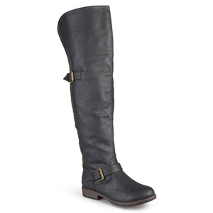 Womens Over-the-knee Inside Pocket Buckle Studded Boots