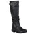 Womens Extra Wide-Calf Buckle Knee-High Riding Boot