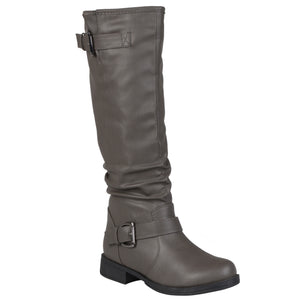Brinley Co. Womens Regular and Wide-Calf Knee-High Buckle Riding Boot