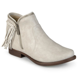 Womens Fringed Almond Toe Riding Booties