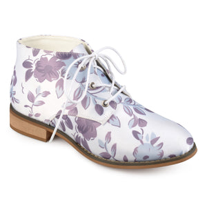 Womens Faux Leather Stacked Wood Heel Lace-up Print Booties