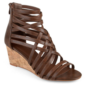 Womens Faux Leather Strappy Wedges