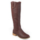 Womens Wide Calf Faux Leather Mid-calf Round Toe Boots