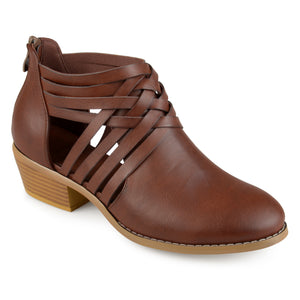 Womens Criss Cross Stacked Wood Heel Faux Leather Booties