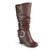Womens Extra Wide Calf Buckle Tall Faux Leather Boots