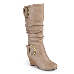 Womens Wide Calf Buckle Tall Faux Leather Boots