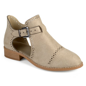 Womens Laser Cut Faux Suede Buckle Booties