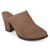 Womens Slide-on Wood Stacked Heel Laser Cut Faux Suede Mules