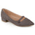 Womens Pointed Toe Faux Leather Block Heel Flats