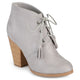 Womens Chunky Heel Lace-up Faux Suede Ankle Booties