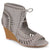 Womens Faux Suede Laser Cut Lace-up Wedges