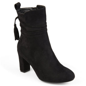 Womens Faux Suede Wrap Strap Tasseled Booties