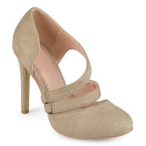 Womens Round Toe Faux Suede Crossover Strap High Heels
