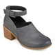 Womens Faux Leather Stacked Heel Ankle Strap Clogs