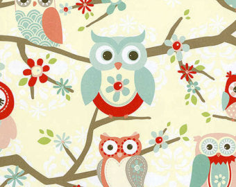 Coral Perched Owls cotton fabric by Adornit Nested Owls 00335