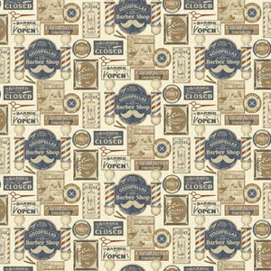 Haircut and Shave Barber Shop cotton fabric by Benartex 10130-70 Cream