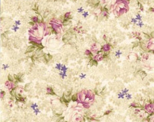 Cream Small Bouquet  Cotton Fabric Southern Nights Fabriquilt 112-26171