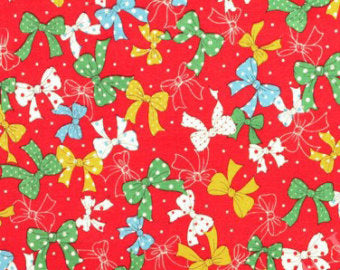 Yuwa cotton fabric  Bows on Red 139145D