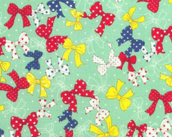Yuwa cotton fabric  Bows on Light Green 139145C