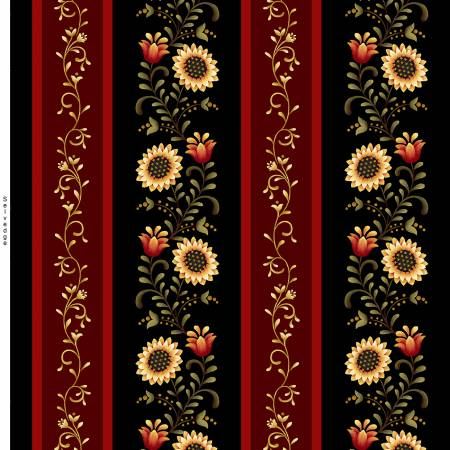 Count Your Blessings cotton fabric by Henry Glass     2348-99 Black Border Stripe