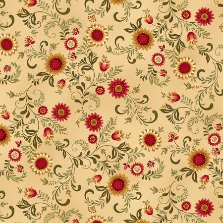Count Your Blessings cotton fabric by Henry Glas 2351-44 Gold Sunflower Vines