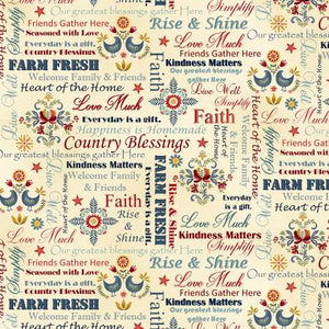 Count Your Blessings cotton fabric by Henry Glass   2352-33 Cream Words