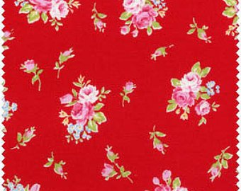 Flower Sugar cotton fabric by Lecien 30363-30 Roses on Red