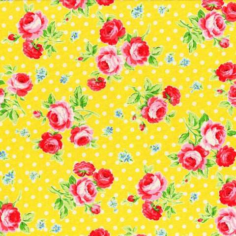 Flower Sugar cotton fabric by Lecien 30747-50 Roses on Yellow