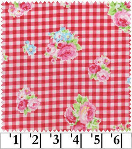 Flower Sugar cotton fabric by Lecien 30748-30 Roses on Red Gingham