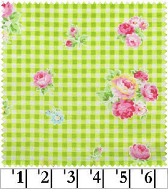 Flower Sugar cotton fabric by Lecien 30748-60 Roses on Green Gingham