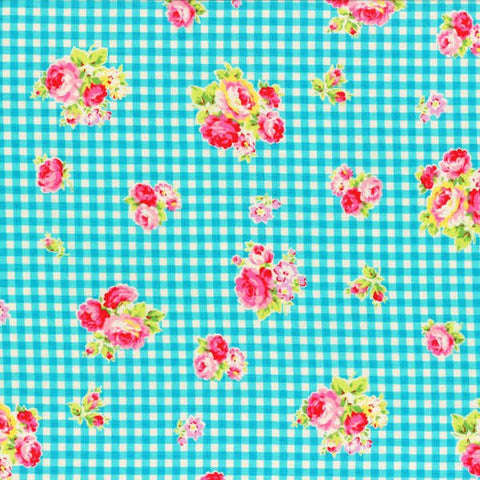 Flower Sugar cotton fabric by Lecien 30748-70 Blue Gingham