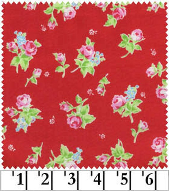 Flower Sugar cotton fabric by Lecien 30749- 30 Rosebuds on Red