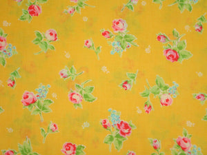 Flower Sugar cotton fabric by Lecien 30749-50 Roses on Yellow