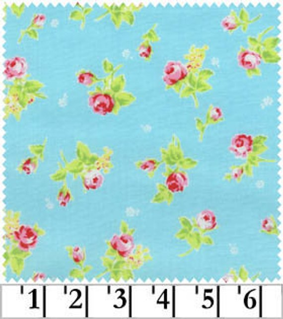 Flower Sugar cotton fabric by Lecien 30749-70 Rosebuds on Blue