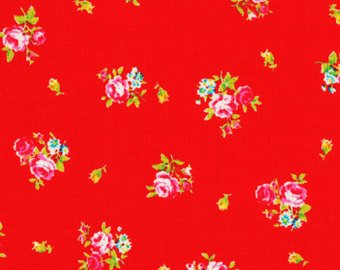 Flower Sugar cotton fabric by Lecien 30750-30 Rose Bouquets on Red