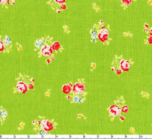 Flower Sugar cotton fabric by Lecien 30750-60 Roses on Green