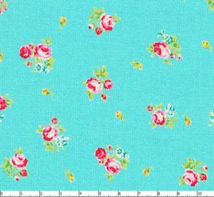 Flower Sugar cotton fabric by Lecien 30750-70 Roses on Blue