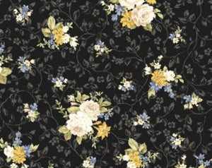 Kilala Antique Roses QMS30752-13f cotton Fabric Roses on black