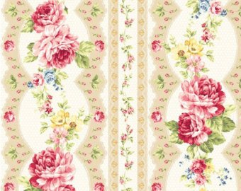 Kilala Elegant Roses KY201205-15A cotton Fabric Rose Stripe