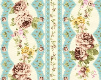 Kilala Elegant Roses KY201205-15D cotton Fabric Rose Stripe Blue