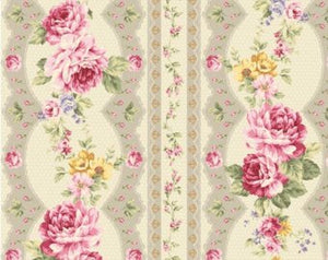 Kilala Antique Roses 30752-15e cotton Fabric Taupe Stripe and Roses