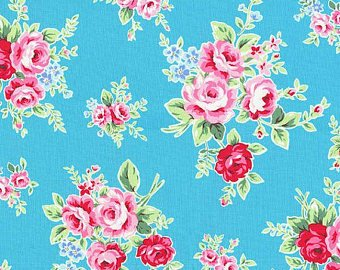 Flower Sugar cotton fabric by Lecien 30841-70 Rose Bouquets on Blue