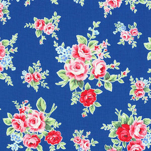 Flower Sugar cotton fabric by Lecien 30841-77 Rose Bouquet on Blue