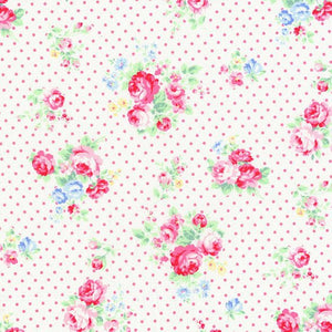 Flower Sugar cotton fabric by Lecien 30842-20 Roses and Dots in Pink