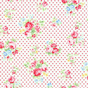Flower Sugar cotton fabric by Lecien 30842-30 Roses and Dots in Red