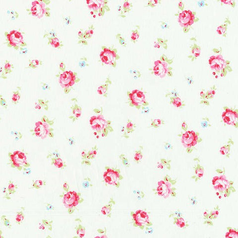 Flower Sugar cotton fabric by Lecien 30843-10 Roses on White